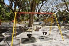 Swing Set. Outdoor playground swing set in Nova Scotia stock photography
