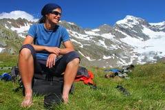 Outdoor pleasure. Young woman enjoying the Austrian Alps Royalty Free Stock Photos
