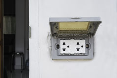 Outdoor plug socket with covering opened Stock Images