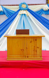 Outdoor podium Flag fabric background Royalty Free Stock Image