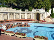 Outdoor pool. Of the famous Gellert Thermal Spa in Budapest Royalty Free Stock Photography
