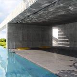 Outdoor pool. 3d visualisation room Vector Illustration