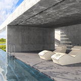 Outdoor pool. 3d visualisation room Stock Photo