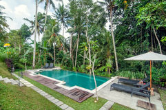 Outdoor pool area of Luxury Bali villa. Bali - Indonesia. Outdoor pool area of luxury villa in Bali with a garden and located in the edge of brink stock photo