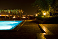 Outdoor pool at night Stock Photo