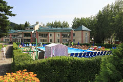 Outdoor pool at the Pension TransSib in resort Royalty Free Stock Image