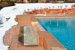 Outdoor Pool at a Resort in Winter Stock Image