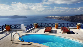 Outdoor pool, Sea view. Small outdoor pool with sea view Royalty Free Stock Images