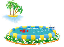 Outdoor pool and tropical island Royalty Free Stock Photography