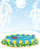 Outdoor pool and tropical islands vector illustration