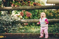 Adorable baby girl playing outside. Outdoor portrait of adorable baby girl of 9-12 months old playing in the park, wearing white bodywarmer Royalty Free Stock Images