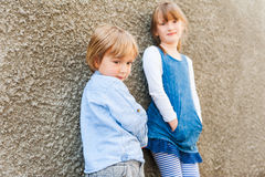 Outdoor portrait of adorable children Royalty Free Stock Images