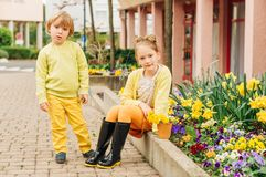 Outdoor portrait of adorable fashion kids royalty free stock photos