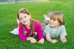 Outdoor portrait of adorable kids Stock Photo