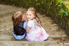 Outdoor portrait of adorable kids Stock Photos