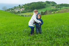 Outdoor portrait of adorable kids Royalty Free Stock Image