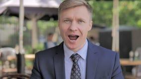 Outdoor Portrait of Amazed Businessman, Surprised stock footage