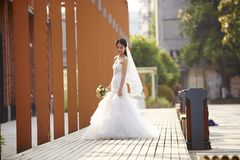 Outdoor portrait of asian bride Royalty Free Stock Images