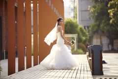 Outdoor portrait of asian bride Royalty Free Stock Photo