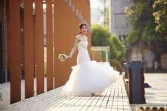 Outdoor portrait of asian bride Stock Image