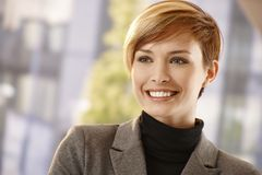 Outdoor portrait of attractive young businesswoman Stock Images