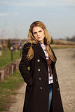 Outdoor Portrait of Beautiful Blond Young Woman Royalty Free Stock Photography