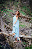 Outdoor portrait of a beautiful brunette model in blue dress in the spring forest.  Royalty Free Stock Photo