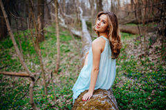 Outdoor portrait of a beautiful brunette model in blue dress in the spring forest.  Royalty Free Stock Photography