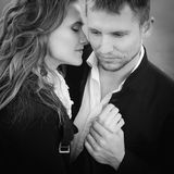 Outdoor portrait of beautiful couple stock photography
