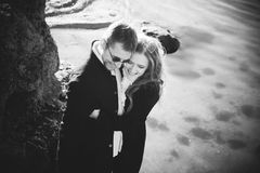 Outdoor portrait of beautiful couple royalty free stock photo