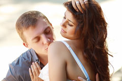 Outdoor portrait of beautiful couple Royalty Free Stock Image
