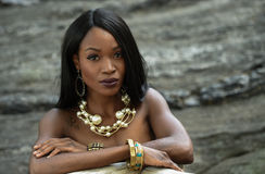 Outdoor portrait of beautiful elegant African American woman. Royalty Free Stock Images