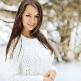 Outdoor portrait of a beautiful girl in wintertime Stock Image