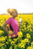 Mixed Race African American Girl Teenager Runner Drinking Water Royalty Free Stock Image