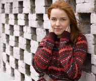 Outdoor portrait of beautiful redhair woman Royalty Free Stock Photos