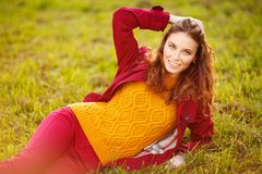 Outdoor portrait of beautiful redhead woman Royalty Free Stock Photos