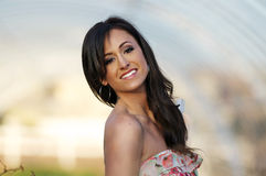 Outdoor portrait of beautiful smiling woman Stock Photos