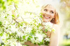 Outdoor portrait of a beautiful woman Stock Photos