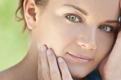 Outdoor Portrait Beautiful Woman With Green Eyes royalty free stock photography