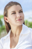 Outdoor Portrait of Beautiful Woman Green Eyes stock image