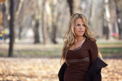 Outdoor Portrait of Beautiful Woman in Park Royalty Free Stock Photo