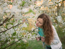 Outdoor portrait of a beautiful woman in white jacket among white blossom tree Stock Photo