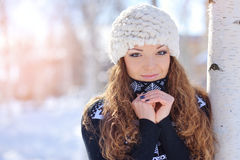 Outdoor portrait of beautiful young girl in winter Royalty Free Stock Photos