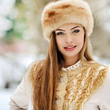 Outdoor portrait of beautiful young girl in winter Royalty Free Stock Image