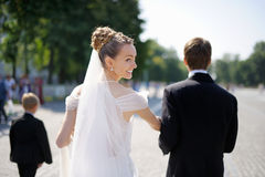 Outdoor portrait of bride and groom Stock Image