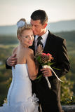 Outdoor portrait of bride and groom on wedding day Stock Photography