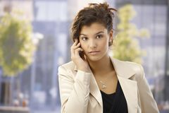 Outdoor portrait of businesswoman with mobile Stock Photo