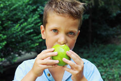 Outdoor portrait of cute boy eating an apple Stock Photography