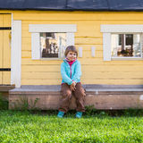 Outdoor portrait of cute Caucasian blond girl Royalty Free Stock Image
