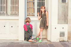 Outdoor portrait of cute kids Royalty Free Stock Image